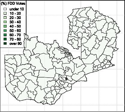 2016 Zambia Presidential Election Results: FDD Vote Distribution